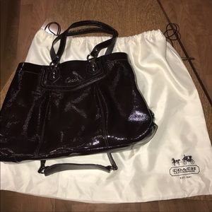 Coach Ashley Satchel Mahogany Brown patent leather